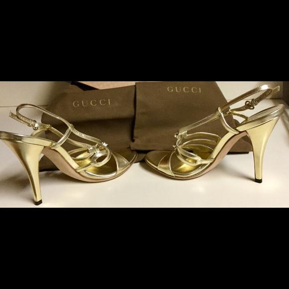 Gucci Shoes | Brand New Gold Stilettos